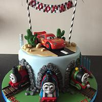 Thomas the tank engine and lightening McQueen cake