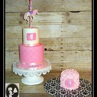 Pretty in pink Carousel topper cake