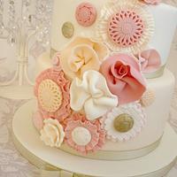 Ruffle flower birthday cake
