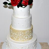 Brush embroidery and red roses