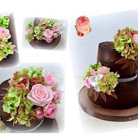 Chocolate ganache with vivid flowers