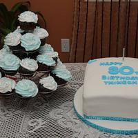 30th Birthday Cake and Cup cakes