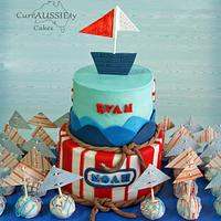 Twins Nautical baby shower cake