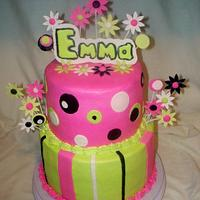 Pink, Lime Green and Black Birthday Cake