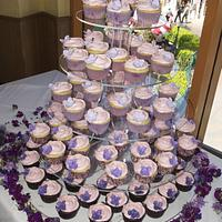 Ombre Lavendar Wedding Cupcake Tower
