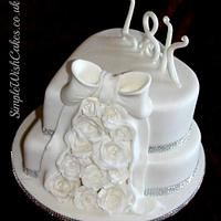 Two Tier Heart Wedding Cake