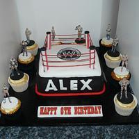WWE wrestling ring cake cupcakes