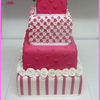 Hot Pink & White Wedding Cake