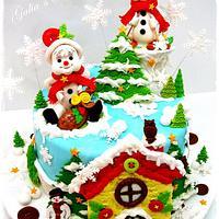 Christmas cake with honey house