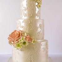 Pearl & Lace Wedding Cake