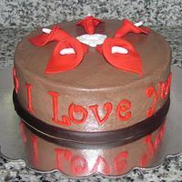Red Calla Lily Anniversary Cake