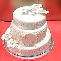 Silver anniversary cake