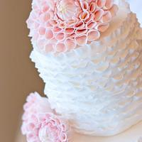 Ruffles & Dahlia Wedding Cake