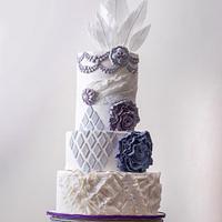 Purple velvet  white feathers