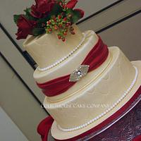 Gold with Claret Roses for Colonial Williamsburg