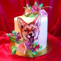 """Cake with hand-painted """"Sly Fox"""""""