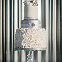 White Rose Ruffle and Silver Peony Wedding Cake