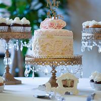 Baroque Wedding Cake (and cupcakes)