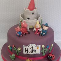 ben and holly / peppa pig cake with rainbox sponge inside  by zoe