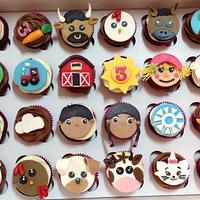3rd Birthday Farm Theme Cupcakes