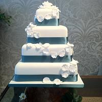 Winter white rose wedding cake