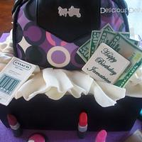 Coach Purse and Makeup Giftbox Cake