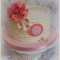 Vintage Rose ridged buttercream cake