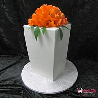 Modern Wedding Cake with Orange Tulips