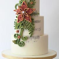 Quilled Christmas Wedding Cake