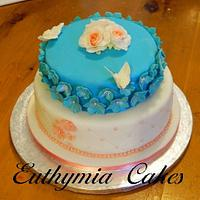 Coral and Turquoise Wedding Cake by Eva