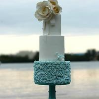 Dusty Blue Ruffle Cake