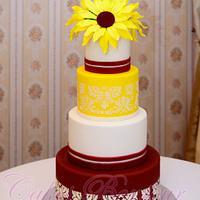 Sunflower wedding cake!