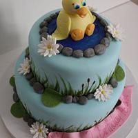 Ducky themed birthday cake