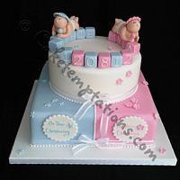 Boy & Girl christening cake