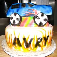 16th bday car with flames