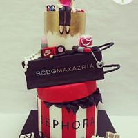 Red, black and gold birthday cake