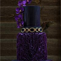 purple, black and gold wedding cake
