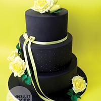 Yellow and black dummy Wedding Cake
