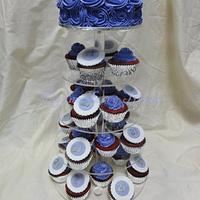 Purple buttercream cake and cupcakes.