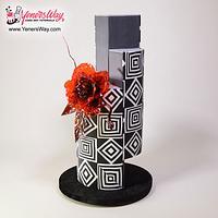 Modern Wedding Cake with Isomalt Flower