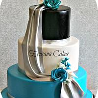 Turquoise, Black and Silver Wedding Cake