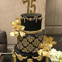 Black and Gold Elegant Cake
