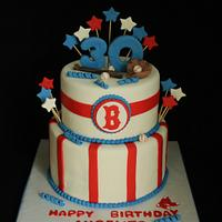 """Boston Red Sox"" Baseball Birthday Cake"