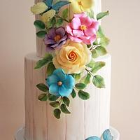 Vibrant Flowers Rustic Cake