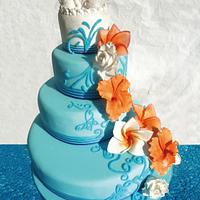 Tropical beach wedding cake