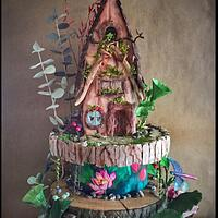 Enchanted Forest Fairy House Cake