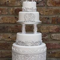 5 tiered Vintage/Antiqued Cherub Birthday Cake