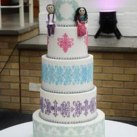 Sari inspired Wedding cake