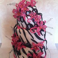 21st cake zebra n hot pink