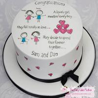 Cartoon Engagement Cake